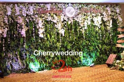 Dịch vụ cưới hỏi 24h trọn vẹn ngày vui chuyên trang trí nhà đám cưới hỏi và nhà hàng tiệc cưới | Backdrop hoa tươi trắng xanh sang trọng