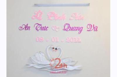 Dịch vụ cưới hỏi 24h trọn vẹn ngày vui chuyên trang trí nhà đám cưới hỏi và nhà hàng tiệc cưới | Cắt dán chữ xốp ngày đám cưới hỏi (01)