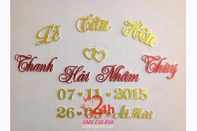 Dịch vụ cưới hỏi 24h trọn vẹn ngày vui chuyên trang trí nhà đám cưới hỏi và nhà hàng tiệc cưới | Cắt dán chữ xốp ngày đám cưới hỏi (11)