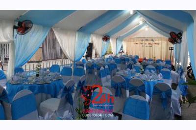 Dịch vụ cưới hỏi 24h trọn vẹn ngày vui chuyên trang trí nhà đám cưới hỏi và nhà hàng tiệc cưới | Cho thuê bàn ghế tiệc cưới tông xanh ngọc (2)