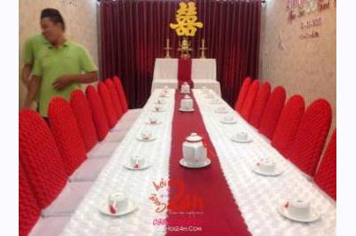 Dịch vụ cưới hỏi 24h trọn vẹn ngày vui chuyên trang trí nhà đám cưới hỏi và nhà hàng tiệc cưới | Cho thuê bàn ghế tông màu đỏ (2)