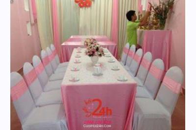 Dịch vụ cưới hỏi 24h trọn vẹn ngày vui chuyên trang trí nhà đám cưới hỏi và nhà hàng tiệc cưới | Cho thuê bàn ghế tông màu hồng phấn