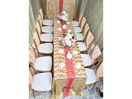 Dịch vụ cưới hỏi 24h trọn vẹn ngày vui chuyên trang trí nhà đám cưới hỏi và nhà hàng tiệc cưới | Uê ghế tiffany màu hồng đào