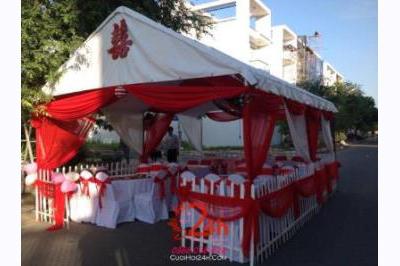 Dịch vụ cưới hỏi 24h trọn vẹn ngày vui chuyên trang trí nhà đám cưới hỏi và nhà hàng tiệc cưới | Cho thuê rạp cưới tông đỏ (3)