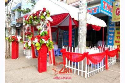 Dịch vụ cưới hỏi 24h trọn vẹn ngày vui chuyên trang trí nhà đám cưới hỏi và nhà hàng tiệc cưới | Cho thuê rạp cưới voan hàng rào tông đỏ song hỷ (3)
