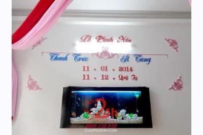 Dịch vụ cưới hỏi 24h trọn vẹn ngày vui chuyên trang trí nhà đám cưới hỏi và nhà hàng tiệc cưới | Cắt dán chữ xốp kim tuyến