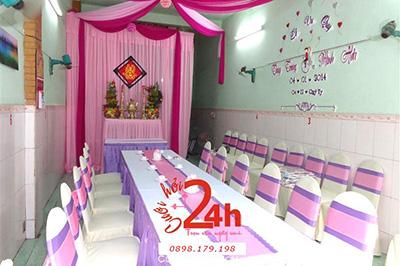 -24h chuyên dịch vụ cưới hỏi: trang trí nhà đám cưới hỏi, nhà hàng tiệc cưới, nhân sự bưng mâm quả, cổng hoa, xe hoa, cắt dán chữ và tin tức cưới hỏi: đám cưới sao, lập kế hoạch cưới, làm đẹp ngày cưới -Trang trí nhà đám cưới tông tím hồng phấn hồn
