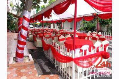 Dịch vụ cưới hỏi 24h trọn vẹn ngày vui chuyên trang trí nhà đám cưới hỏi và nhà hàng tiệc cưới | Nhà tiệc rạp đám cưới hàng rào voan trắng đỏ
