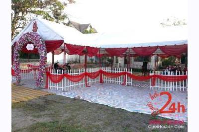 Dịch vụ cưới hỏi 24h trọn vẹn ngày vui chuyên trang trí nhà đám cưới hỏi và nhà hàng tiệc cưới | Cho thuê nhà tiệc rạp cưới tông đỏ số lượng lớn