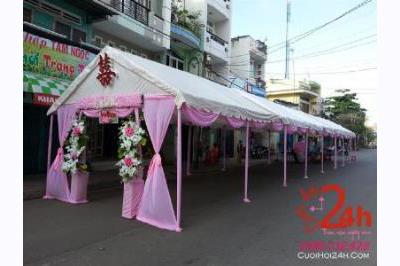 Dịch vụ cưới hỏi 24h trọn vẹn ngày vui chuyên trang trí nhà đám cưới hỏi và nhà hàng tiệc cưới | Khung rạp tông hồng dễ thương cho đám tiệc, sự kiện