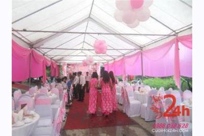 Dịch vụ cưới hỏi 24h trọn vẹn ngày vui chuyên trang trí nhà đám cưới hỏi và nhà hàng tiệc cưới | Cho thuê rạp đám cưới tông hồng trang trí bằng voan và bong bóng