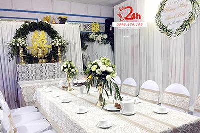 Dịch vụ cưới hỏi 24h trọn vẹn ngày vui chuyên trang trí nhà đám cưới hỏi và nhà hàng tiệc cưới: Trang trí nhà cưới phong cách rustic
