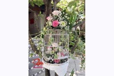 Dịch vụ cưới hỏi 24h trọn vẹn ngày vui chuyên trang trí nhà đám cưới hỏi và nhà hàng tiệc cưới: Phụ kiện lồng hoa trang trí hoa tươi