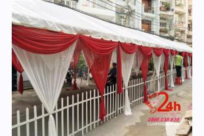 Dịch vụ cưới hỏi 24h trọn vẹn ngày vui chuyên trang trí nhà đám cưới hỏi và nhà hàng tiệc cưới | Cho thuê nhà bạt trắng đỏ phối hàng rào