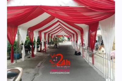 Dịch vụ cưới hỏi 24h trọn vẹn ngày vui chuyên trang trí nhà đám cưới hỏi và nhà hàng tiệc cưới | Cho thuê nhà bạt voan tông trắng đỏ ngày cưới (1)