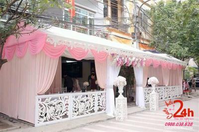 Dịch vụ cưới hỏi 24h trọn vẹn ngày vui chuyên trang trí nhà đám cưới hỏi và nhà hàng tiệc cưới | Cho thuê nhạc bạt hồng phấn hàng rào hoa văn đẹp mắt