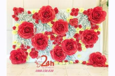 Dịch vụ cưới hỏi 24h trọn vẹn ngày vui chuyên trang trí nhà đám cưới hỏi và nhà hàng tiệc cưới | Backdrop chụp ảnh nhà hàng kết hoa giấy to đẹp tông trắng đỏ