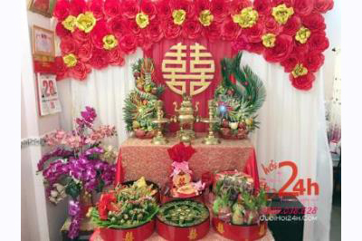 Dịch vụ cưới hỏi 24h trọn vẹn ngày vui chuyên trang trí nhà đám cưới hỏi và nhà hàng tiệc cưới | Bàn thờ gia tiên ngày đám cưới