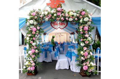 Dịch vụ cưới hỏi 24h trọn vẹn ngày vui chuyên trang trí nhà đám cưới hỏi và nhà hàng tiệc cưới | Cung cấp dịch vụ kết cổng cưới hoa vải trọn gói (2)