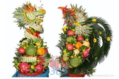 Dịch vụ cưới hỏi 24h trọn vẹn ngày vui chuyên trang trí nhà đám cưới hỏi và nhà hàng tiệc cưới | Dịch vụ kết rồng phụng trái cây tươi uy tín và sáng tạo