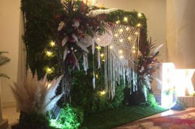 Dịch vụ cưới hỏi 24h trọn vẹn ngày vui chuyên trang trí nhà đám cưới hỏi và nhà hàng tiệc cưới | Dịch vụ trang trí phông chụp ảnh lãng mạn với sự kết của lông vũ, đèn, lưới đặc biệt (1)