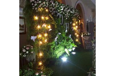 Dịch vụ cưới hỏi 24h trọn vẹn ngày vui chuyên trang trí nhà đám cưới hỏi và nhà hàng tiệc cưới | Mẫu backdrop chụp ảnh tông xanh lá lung linh dưới ánh đèn vàng điểm hoa hồng đẹp