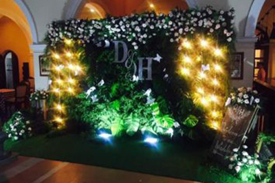 Dịch vụ cưới hỏi 24h trọn vẹn ngày vui chuyên trang trí nhà đám cưới hỏi và nhà hàng tiệc cưới | Phông cưới, backdrop chụp ảnh tông xanh lá lung linh dưới ánh đèn vàng điểm hoa hồng đẹp