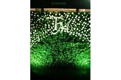 Dịch vụ cưới hỏi 24h trọn vẹn ngày vui chuyên trang trí nhà đám cưới hỏi và nhà hàng tiệc cưới | Phông cưới, backdrop chụp ảnh tông xanh lá nổi bật với chữ TM cùng hoa hồng trắng kết hợp (1)