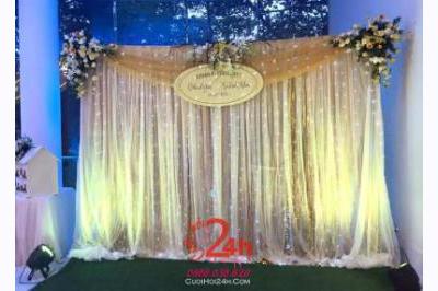 Dịch vụ cưới hỏi 24h trọn vẹn ngày vui chuyên trang trí nhà đám cưới hỏi và nhà hàng tiệc cưới | Phông cưới hoa tươi vườn sao lung linh
