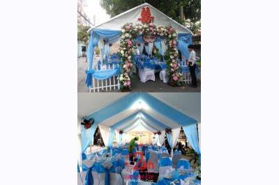 Dịch vụ cưới hỏi 24h trọn vẹn ngày vui chuyên trang trí nhà đám cưới hỏi và nhà hàng tiệc cưới | Rạp cưới đẹp màu xanh biển (1)