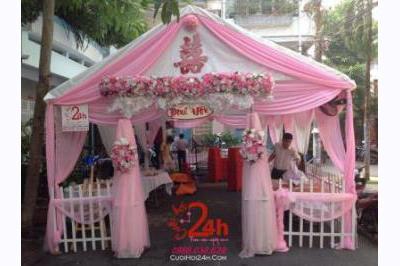 Dịch vụ cưới hỏi 24h trọn vẹn ngày vui chuyên trang trí nhà đám cưới hỏi và nhà hàng tiệc cưới | Rạp cưới tông màu hồng (1)