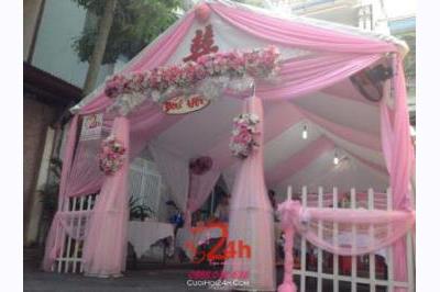 Dịch vụ cưới hỏi 24h trọn vẹn ngày vui chuyên trang trí nhà đám cưới hỏi và nhà hàng tiệc cưới | Rạp cưới tông màu hồng (3)