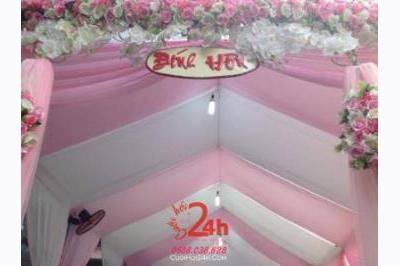 Dịch vụ cưới hỏi 24h trọn vẹn ngày vui chuyên trang trí nhà đám cưới hỏi và nhà hàng tiệc cưới | Rạp cưới tông màu hồng cho lễ đính hôn (1)