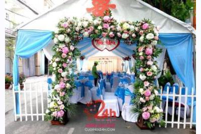 -24h chuyên dịch vụ cưới hỏi: trang trí nhà đám cưới hỏi, nhà hàng tiệc cưới, nhân sự bưng mâm quả, cổng hoa, xe hoa, cắt dán chữ và tin tức cưới hỏi: đám cưới sao, lập kế hoạch cưới, làm đẹp ngày cưới -Rạp cưới tông xanh ngọc