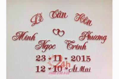 Dịch vụ cưới hỏi 24h trọn vẹn ngày vui chuyên trang trí nhà đám cưới hỏi và nhà hàng tiệc cưới | Dán chữ đám cưới mẫu trái tim trẻ trung
