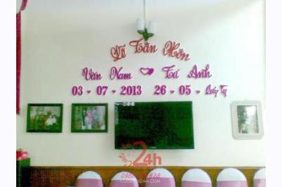 Dịch vụ cưới hỏi 24h trọn vẹn ngày vui chuyên trang trí nhà đám cưới hỏi và nhà hàng tiệc cưới | Cắt dán chữ mẫu 12 - hồng dễ thương