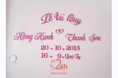 Dịch vụ cưới hỏi 24h trọn vẹn ngày vui chuyên trang trí nhà đám cưới hỏi và nhà hàng tiệc cưới | Cắt dán chữ hồng dâu mềm mại, trang nhã, dễ thương