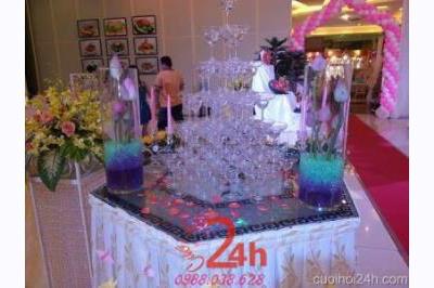 Dịch vụ cưới hỏi 24h trọn vẹn ngày vui chuyên trang trí nhà đám cưới hỏi và nhà hàng tiệc cưới | Trang trí tháp rượu nhà hàng