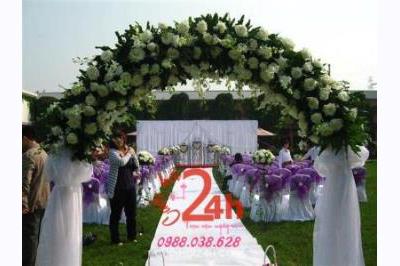 Dịch vụ cưới hỏi 24h trọn vẹn ngày vui chuyên trang trí nhà đám cưới hỏi và nhà hàng tiệc cưới | Cổng hoa tươi 18