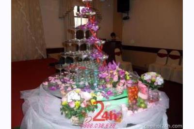 Dịch vụ cưới hỏi 24h trọn vẹn ngày vui chuyên trang trí nhà đám cưới hỏi và nhà hàng tiệc cưới | Trang trí bánh cưới với hoa phong lan