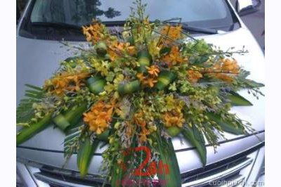 Dịch vụ cưới hỏi 24h trọn vẹn ngày vui chuyên trang trí nhà đám cưới hỏi và nhà hàng tiệc cưới | Xe cưới màu bạc kết hoa phong lan tông vàng tươi tắn