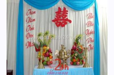 Dịch vụ cưới hỏi 24h trọn vẹn ngày vui chuyên trang trí nhà đám cưới hỏi và nhà hàng tiệc cưới | Trang trí bàn thờ hiện đại tông xanh biển