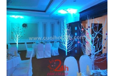 Dịch vụ cưới hỏi 24h trọn vẹn ngày vui chuyên trang trí nhà đám cưới hỏi và nhà hàng tiệc cưới | Trang trí không gian tiệc cưới giáng sinh trong nhà hàng